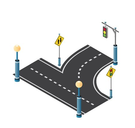 City driveway street with road signs and street lamps. Isometric cityscape vector modern urban background Çizim