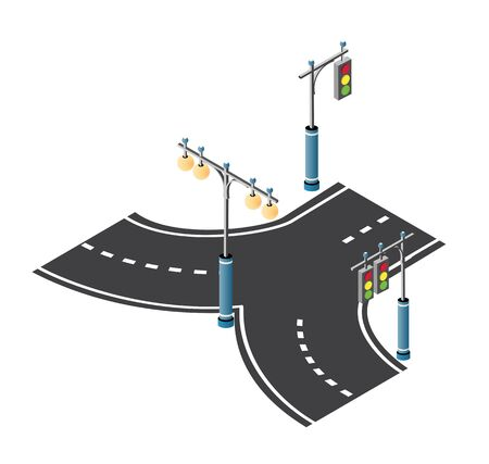 The road streetlight traffic signs set with lanterns and urban lighting, crossroad intersection road street of downtown in the town of the city. Isometric cityscape vector modern urban game background Иллюстрация