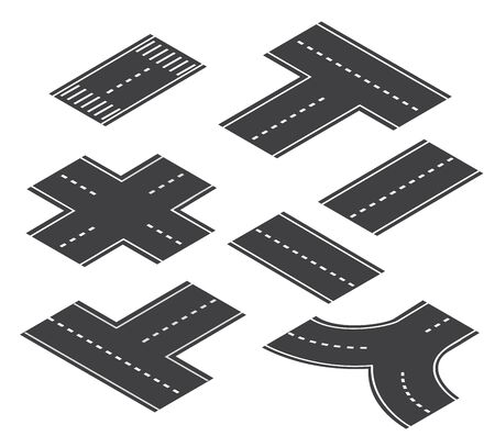 The crossroad intersection road street set , of downtown in the town of the city. Isometric cityscape vector modern urban game background