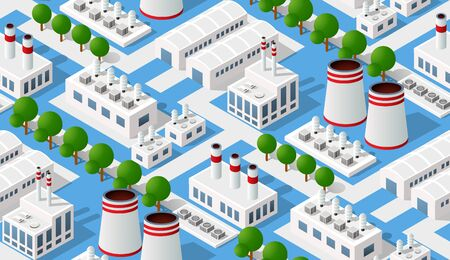 Seamless industrial pattern of the landscape of industrial objects plant, factories, parking lots and warehouses. Isometric top view the city with streets, buildings and trees.