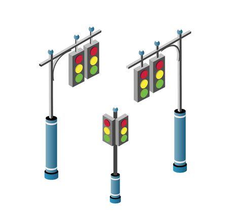 Set of isometric city road traffic lights semaphore. Urban infrastructure travel transportation service