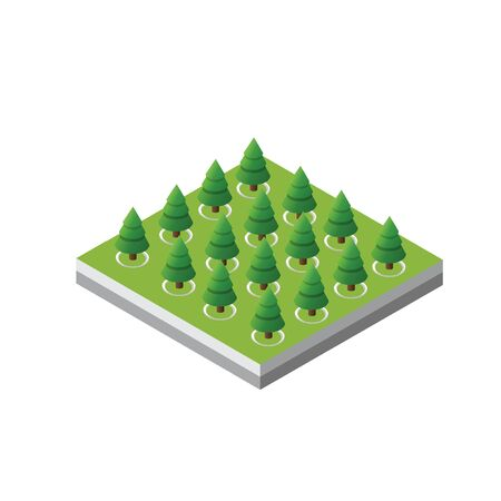 Isometric 3d trees forest camping nature elements white background for landscape design. Vector illustration isolated. Icons for city maps, games and your town Stock fotó - 129976690