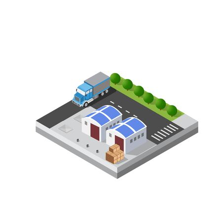 Transport logistics warehouse isometric unit for website design and web games.