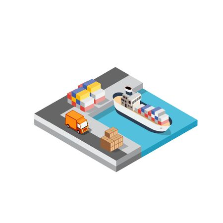 Port cargo ship transport logistics seaport vector template with an isometric illustration. The sea with crane container and vessel.