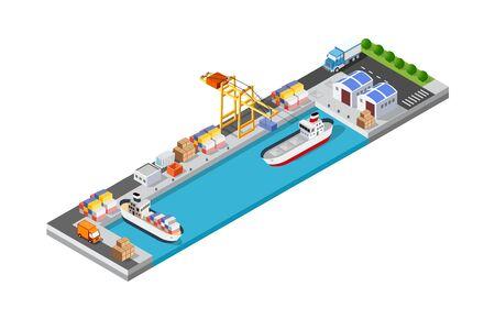 Plantilla de vector de puerto marítimo de logística de transporte de buque de carga de puerto con una ilustración isométrica. El mar con contenedor de grúa y buque. Ilustración de vector