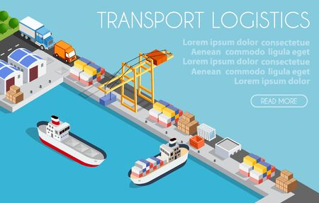 Port cargo ship transport logistics seaport webpage vector template with an isometric illustration. Website interface design. The sea with crane container and vessel. Web banner idea.