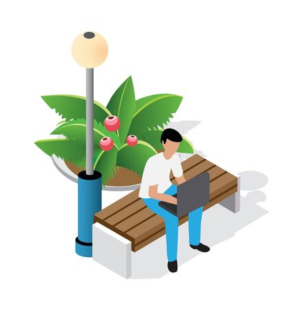 Family time recreation isometric people vector illustrations. Businessman on a bench in the park on vacation with laptops. Entertainment activities 3d concept and support isolated clipart Standard-Bild - 129976704