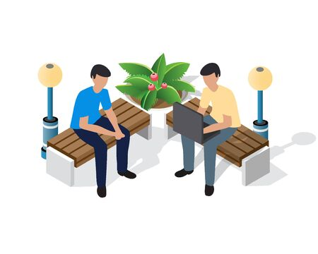 Family time recreation isometric people vector illustrations. Businessman on a bench in the park on vacation with laptops. Entertainment activities 3d concept and support isolated clipart Standard-Bild - 129976705