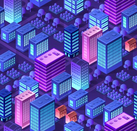 Ultraviolet Conceptual urban seamless pattern Isometric City set 3d of the city with a street road building skyscraper of vector architecture.Modern bright illustration for game design