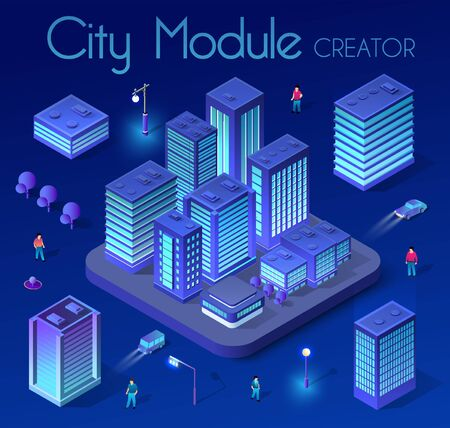 Ultraviolet Isometric City set 3d module block district city with a street road building skyscraper from the urban infrastructure of vector architecture. Modern bright illustration for game design Illustration