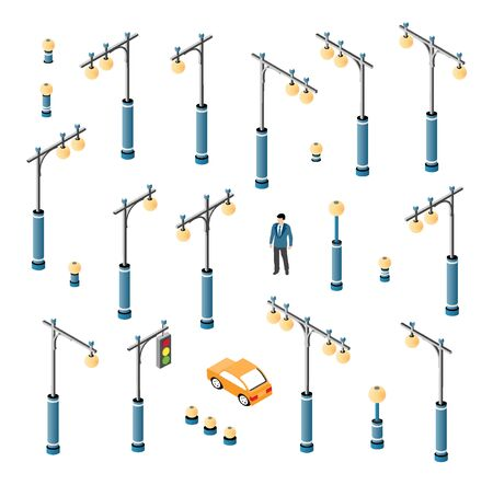 The road streetlight set with lanterns and urban lighting of downtown in the town of the city. Isometric cityscape vector modern urban background