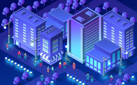 Isometric ultra city concept of violet style, an ultraviolet 3d modern design of urban street of a skyscraper, street lamps and building road town. Vector illustration of modern business background. Illustration