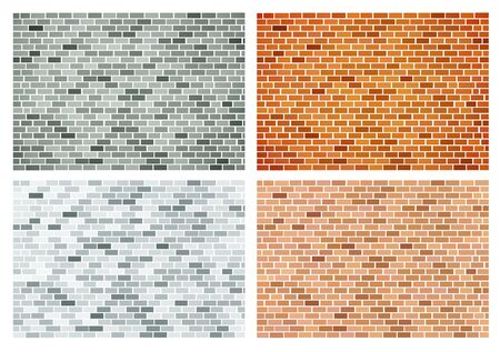 Vector background of bricks of different colors Çizim
