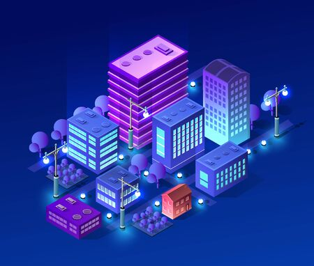 Isometric ultra city concept of violet style, an ultraviolet 3d modern design of urban street of a skyscraper, street lamps and building road town. Vector illustration of modern business background.