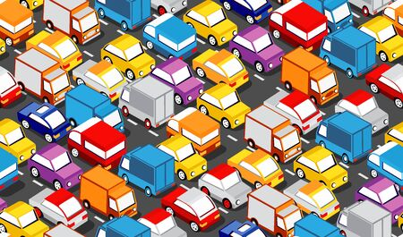 Seamless repeating urban pattern Isometric area of the city car parking with cars, trucks, taxis, trailers and vans.