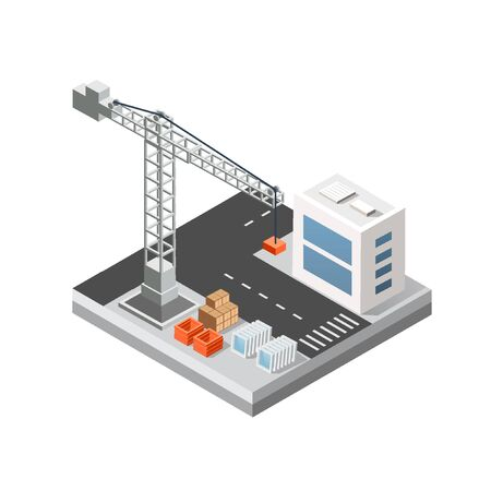 Industrial isometric 3D city building with construction cranes and town houses made in perspective. Modern white illustration for game design Stock Illustratie