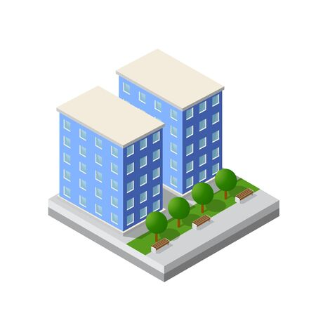Cityscape design elements with isometric building city map generator. Isolated collection for creating your perfect city Illustration
