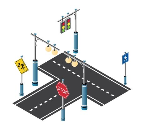 City driveway street with road signs and street lamps. Isometric cityscape vector modern urban background Illustration