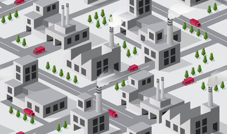 City plant factory industrial isometric urban design elements. Seamless repeating pattern urban concept industrial design Illustration