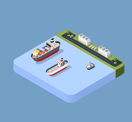 Port cargo ship transport logistics seaport vector template with an isometric illustration. The sea with crane container and vessel