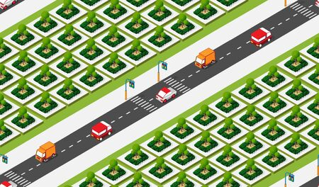 Isometric Crossroads of streets of highways with traffic cars standing in jam. Seamless repeating background illustration Stock Illustratie