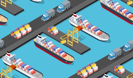 Seamless industrial city map pattern. Isometric port mooring ship transport with crane and shipping containers