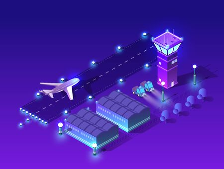 Ultraviolet night lights architecture city isometric airport runway airport airline terminal with aircraft aviation plane transport from smart business technology, digital modern concept background Illusztráció