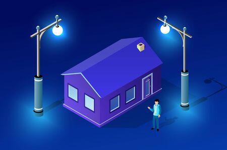Night ultraviolet architecture city from isometric urban building street. Vector concept business violet modern digital illustration for background design. Illustration