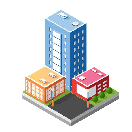 Cityscape design elements with isometric building Иллюстрация