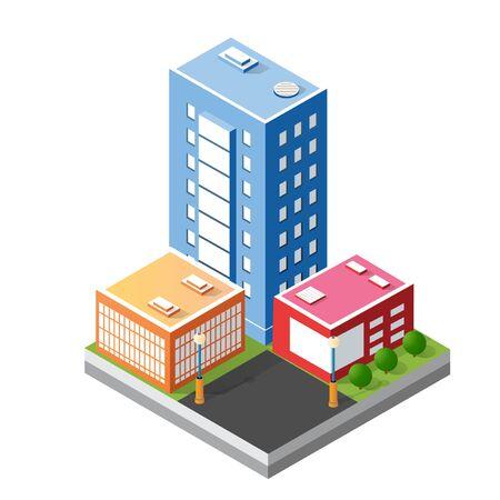Cityscape design elements with isometric building Illusztráció
