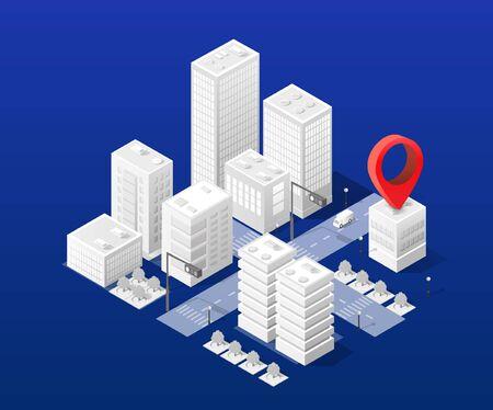 Isometric city map navigations urban cartography Иллюстрация