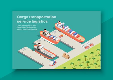 Isometric port cargo ship seaport at sea with crane container transport vessel logistic illustration