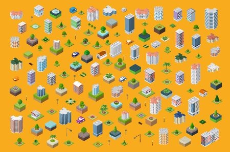 Set of the landscape of industrial objects plant, factories, parking lots and warehouses. Isometric top view the city with streets, buildings and trees. Town construction industry
