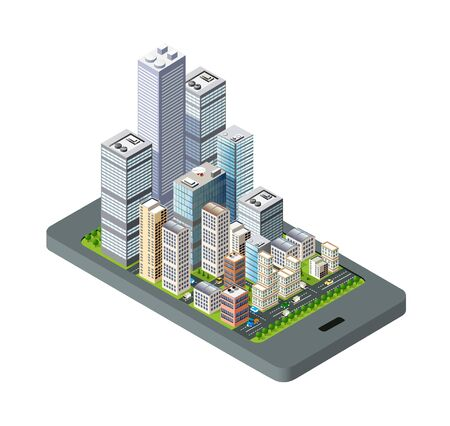Isometric city map navigations urban cartography business concept. Vector cityscape skyline illustration of location town skyscraper and road