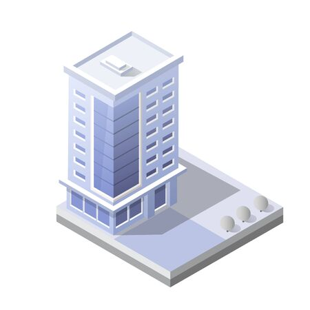 Cityscape design elements with isometric building city map for creating your perfect road Иллюстрация