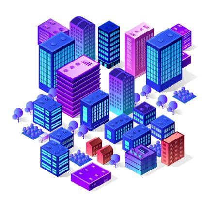 Isometric city set of violet colors building modern town street, urban road architecture. Ultraviolet illustration map of isometry for the business design concept.