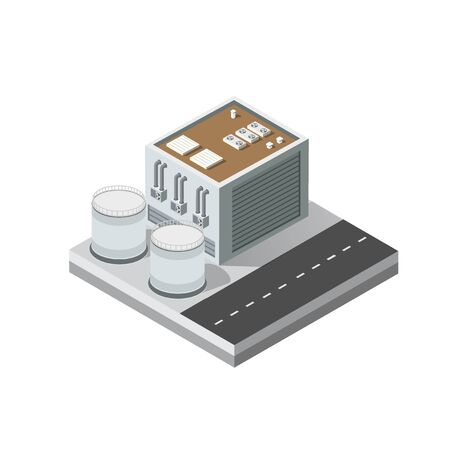 Industrial objects plant, factories. Isometric top view the city with streets, buildings. Town construction industry Иллюстрация