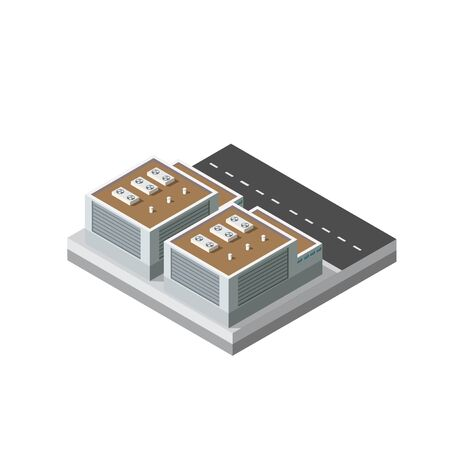 Industrial objects plant, factories. Isometric top view the city with streets, buildings. Town construction industry Illustration