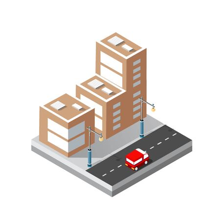 Cityscape design elements with isometric building city map for creating your perfect road Illustration