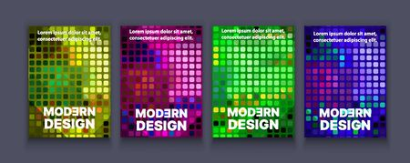 Brochure banner set collection flyer of abstract neon geometric light for template page frame sale business card. Trendy cover illustration of vector backdrop. Colorful pattern with clipping mask
