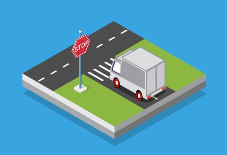 Isometric set cars and trucks transport infrastructure of the town