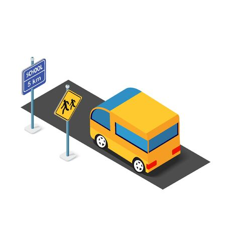 Isometric school bus urban infrastructure cars and buses transport