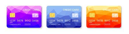 Credit cards set multicolor template vector