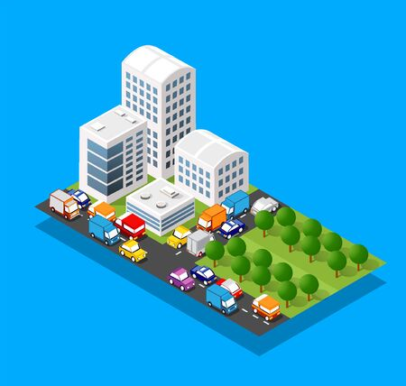 Isometric 3d module block district part of the city with a street road from the urban infrastructure of vector architecture. Modern white illustration for game design Çizim