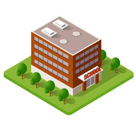 School isometric building study education Иллюстрация