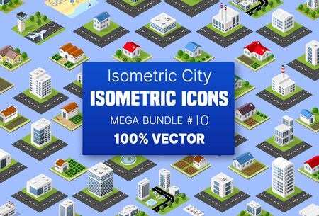 Isometric set building houses icons of blocks module of areas of the city construction and designing of the perspective urban of design of the architecture environment