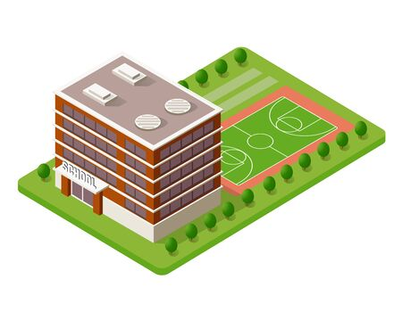 School isometric building study education urban infrastructure for conceptual design vector illustration with houses and streets. Иллюстрация
