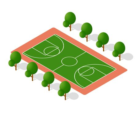 School playground for games for schoolchildren and students. Vector illustration of study education.