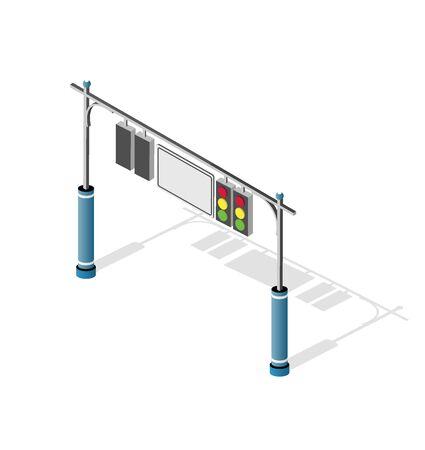Isometric city road traffic lights semaphore. Urban infrastructure travel transportation service