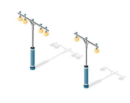 Streetlight set with lanterns and urban lighting of downtown in the town of the city. Isometric cityscape vector modern urban background Иллюстрация